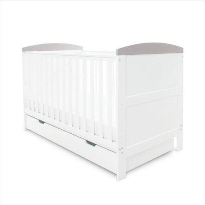 Ickle Bubba Coleby White With Grey Trim Cot Bed with Under Drawer