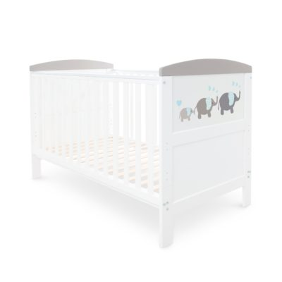 Ickle Bubba Coleby Style Elephant Love Grey Cot Bed