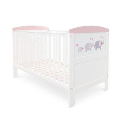 Ickle Bubba Coleby Style Elephant Love Pink Cot Bed
