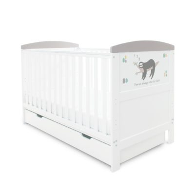 Ickle Bubba Coleby Sloth Grey Cot Bed with Under Drawer