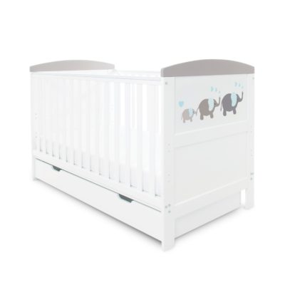 Ickle Bubba Coleby Elephant Love Grey Cot Bed with Under Drawer