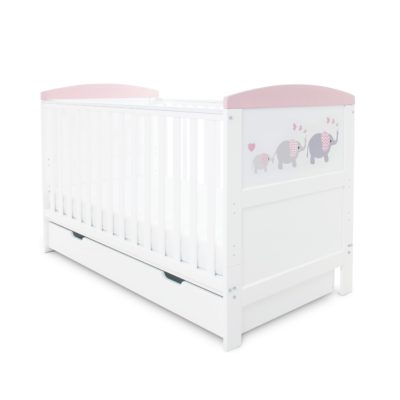 Ickle Bubba Coleby Elephant Love Pink Cot Bed with Under Drawer
