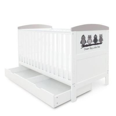 Ickle Bubba Coleby Dream Big Little Owl Cot Bed with Under Drawer