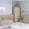 babymore Veni 3 piece nursery room set with underdrawer oak