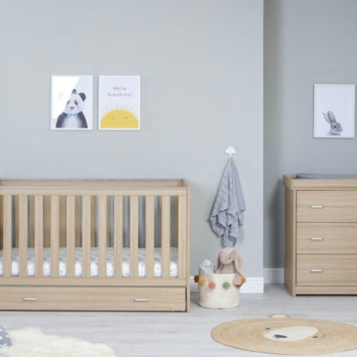 babymore Veni cot bed with underdrawer oak