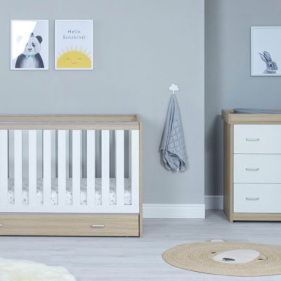 babymore Veno cot bed with underdrawer oak white