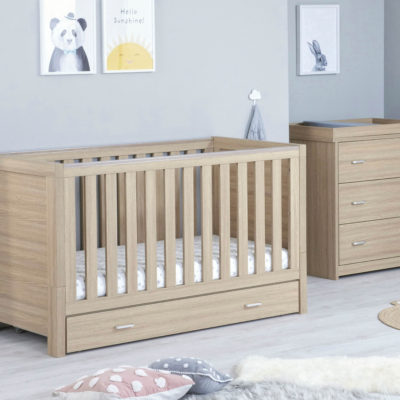 babymore luno cot bed oak with underdrawer