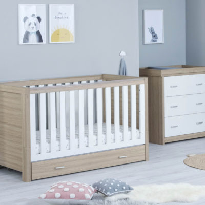 babymore luno cot bed with underdrawer oak white