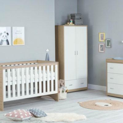 veni 3 piece nursery room set white oak