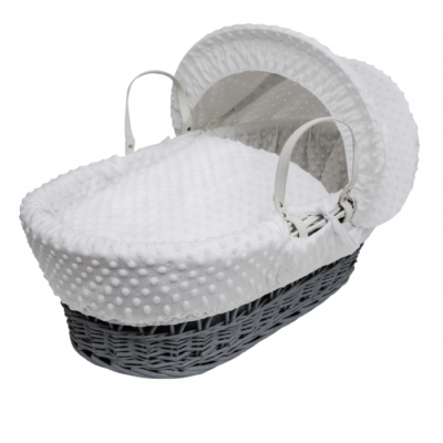 Kindervalley Grey Wicker Basket Dimple White