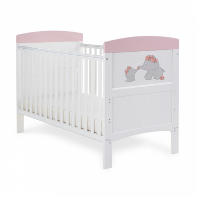 Obaby Me & Mini Me Pink Elephants Grace Inspire Cot Bed