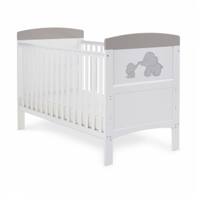 Obaby Me & Mini Me Grey Elephants Grace Inspire Cot Bed
