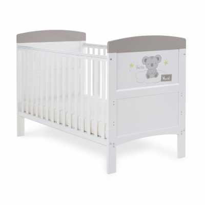 Obaby Hello World Grey Koala Grace Inspire Cot Bed
