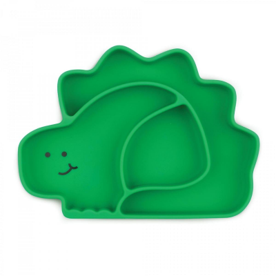 Bumkins Green Dino Silicone Grip Dish