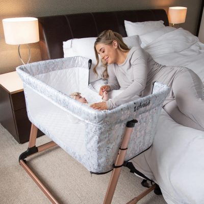 My Babiie Dani Dyer Bedside Crib - Rose Gold Marble