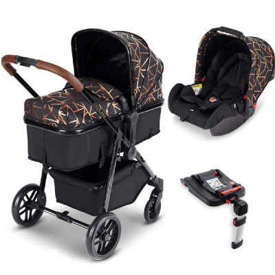 Moon Travel System Black/Copper/Tan with Galaxy Car Seat & Isofix Base