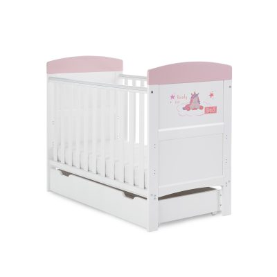 Unicorn Pink cotbed with Under Drawer - BUNDLE