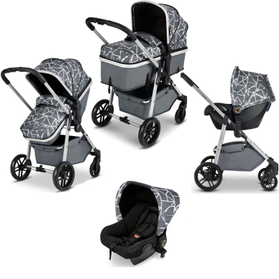 Moon 3-In-1 Silver/Sparkle/Black Travel System With Astral Car Seat