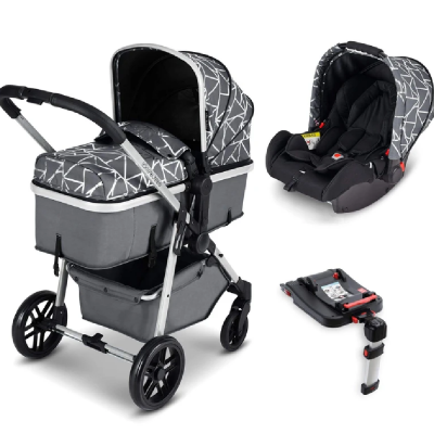 Moon Travel System Silver/Sparkle/Black with Galaxy Car Seat & Isofix Base