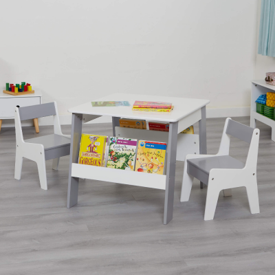 Liberty House Toys Grey and White Bookshelf Table and Chair Set